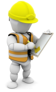 Clipart Illustration of a White Character In A Hardhat And Vest,